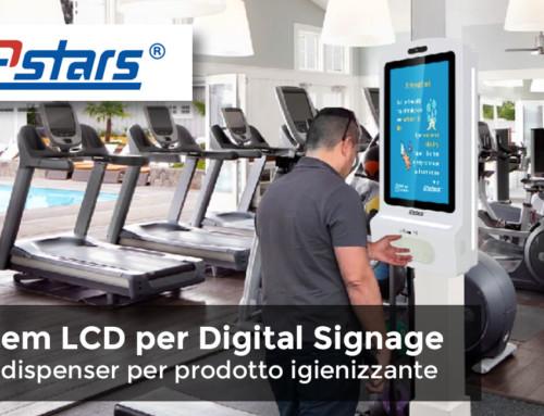 Totem per Digital Signage LCD da 21,5″ con dispenser per prodotto igienizzante